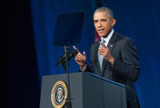 President Barack Obama addresses the International Chiefs of Police annual conference in Chicago Oct. 27, 2015. The event is the largest gathering of law-enforcement leaders in the world.Scott Olson/Getty Images