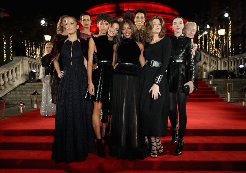 Linda Spierings, Veronica Webb, Nadege du Bospertus, Dilone, Marpessa Hennink, Naomi Campbell, Farida Khelfa, Stephanie Seymour, Mariacarla Boscono and Marie Sophie Wilson at the Fashion Awards 2017 in partnership with Swarovski at Royal Albert Hall on Dec. 4, 2017, in London (Tristan Fewings/Getty Images)