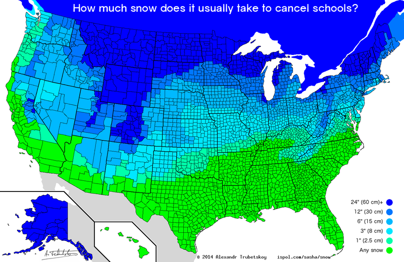 Illustration for article titled This Map Shows the Amount of Snow It Takes to Cancel School