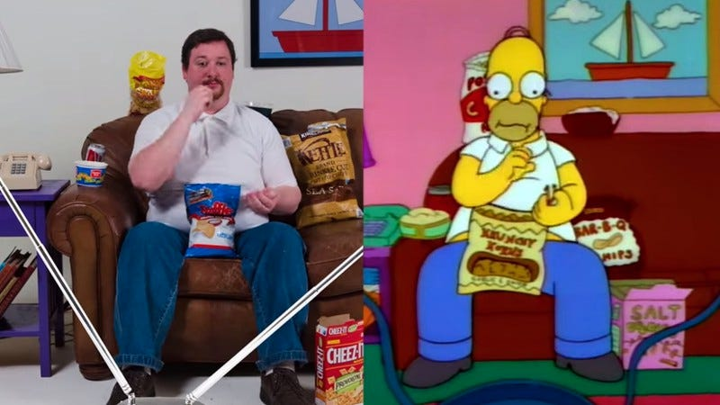 Illustration for article titled Celebrate gluttony with 9 seconds of Homer Simpson-synced snacking