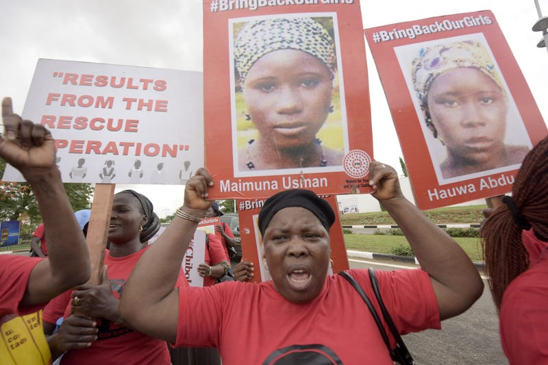 Members of the Bring Back Our Girls movement carry placards to press for the release of the missing Chibok schoolgirls in Lagos, Nigeria, on April 14, 2016.PIUS UTOMI EKPEI/AFP/Getty Images