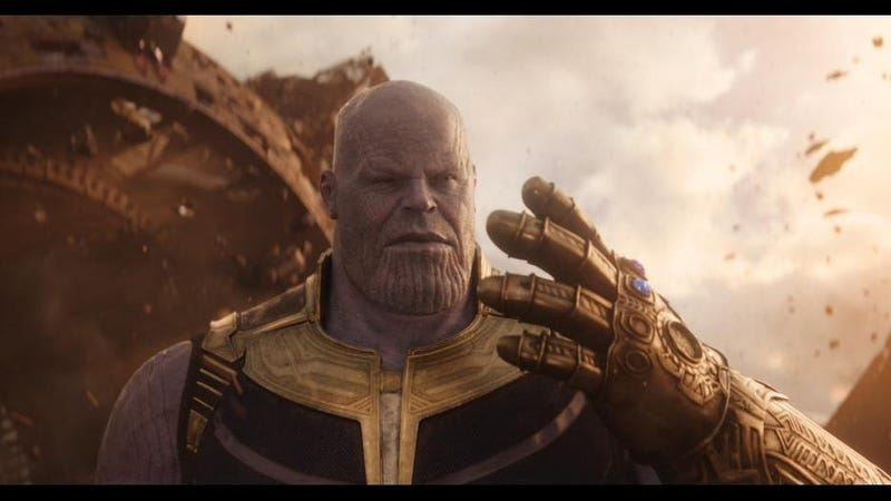 Thanos, a giant purple baddie and neo-Malthusian.