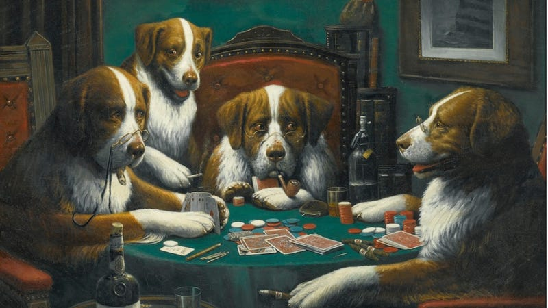 Illustration for article titled That 'Dogs Playing Poker' Abomination Sold for More Money Than You'll Ever See at Once
