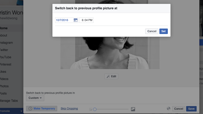 You Can Make Your Facebook Profile Picture Temporary