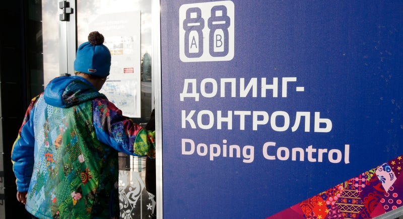 A doping control sign at the Sochi Olympics. (Photo credit: Lee Jin-man/AP)