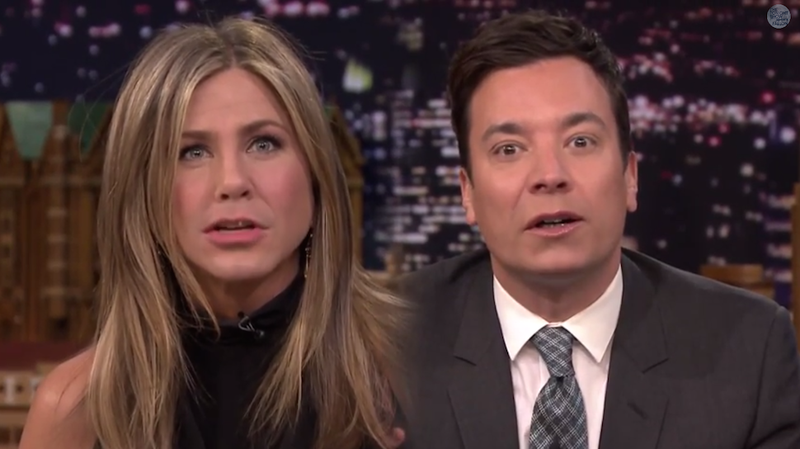 Illustration for article titled Watch Jennifer Aniston and Jimmy Fallon Flip Lips, Get Weird