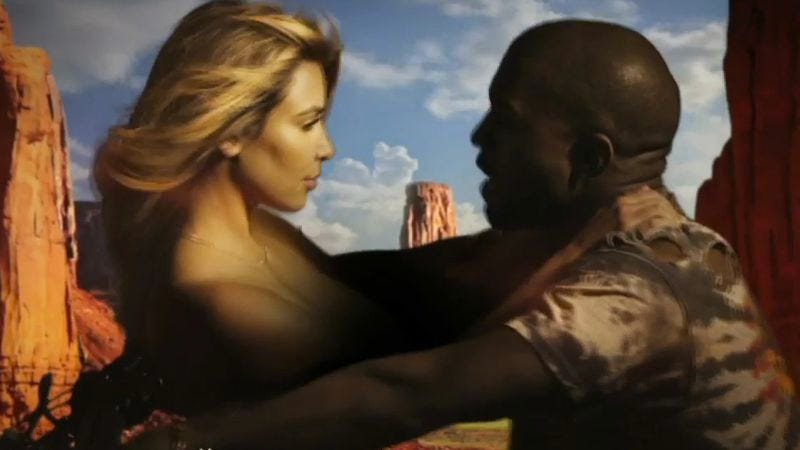 "Illustration for article titled Kanye innovates new topless Kim Kardashian motorcycle safety device in ""Bound 2"" video"