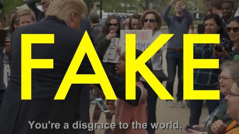 "Illustration for article titled No, este vídeo de una niña llamando a Donald Trump ""desgracia para el mundo"" es totalmente falso"