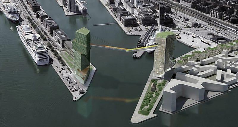 Illustration for article titled Copenhague construirá una pasarela para ciclistas suspendida a 65m de altura