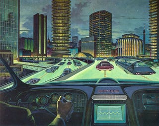 Illustration for article titled The Futuristic Superhighways of 1964 Had Glow-in-the-Dark Roads