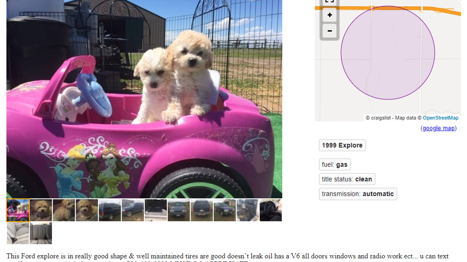make two separate ads to sell my car and puppy? WHO HAS TIME