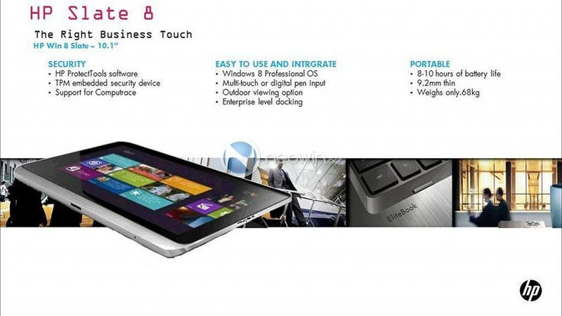 Illustration for article titled Report: This Could Be HP's First Windows 8 Tablet
