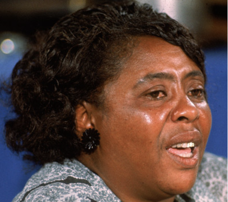 """Civil rights leader Fannie Lou Hamer (1917-1977) testifying before the Credentials Committee at the Democratic National Convention in Atlantic City, N.J., in a speech that was televised nationally Aug. 22, 1964. Hamer spoke on behalf of the Mississippi Freedom Democratic Party that had been denied seats at the convention by organizers acting on behalf of the """"regular"""" Mississippi Democratic Party's delegation. (Getty Images)"""