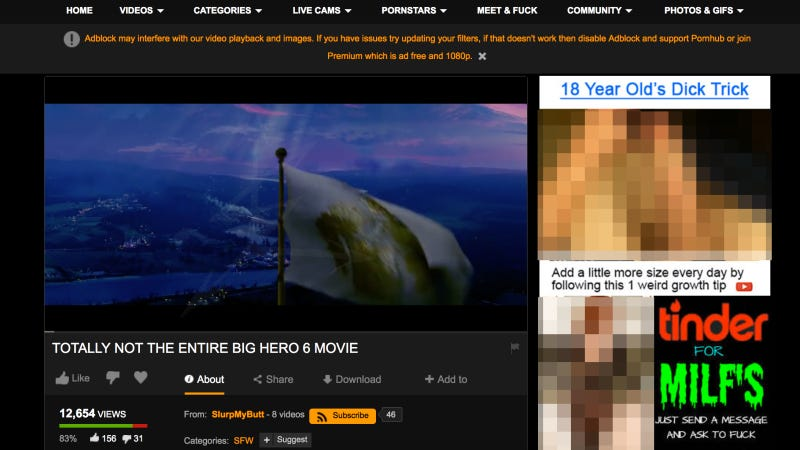 All images: Screenshot via Pornhub