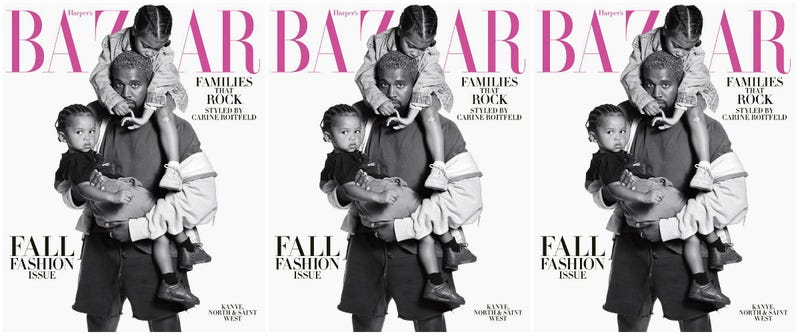 (L-R) Saint, Kanye and North West cover the Harper's Bazaar September Issue