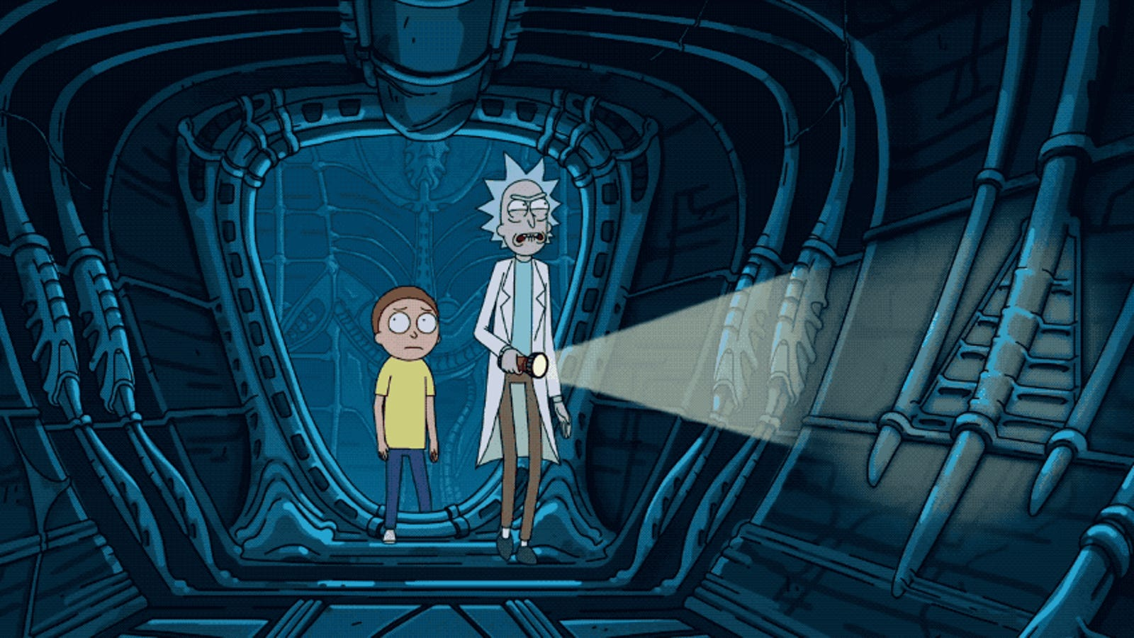 Alcoholism Saves Rick and Morty From a Face Hugger in Alien: Covenant Crossover