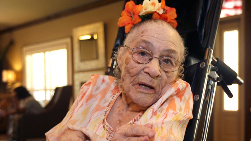 Supercentenarian Gertrude Weaver poses for a photo on her 116th birthday.