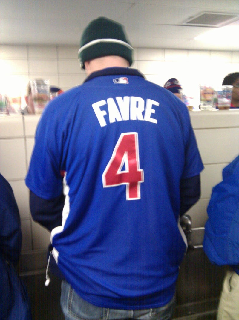 Illustration for article titled Yet Another Reason To Hate The Midwest: This Guy's Cubs Favre Jersey
