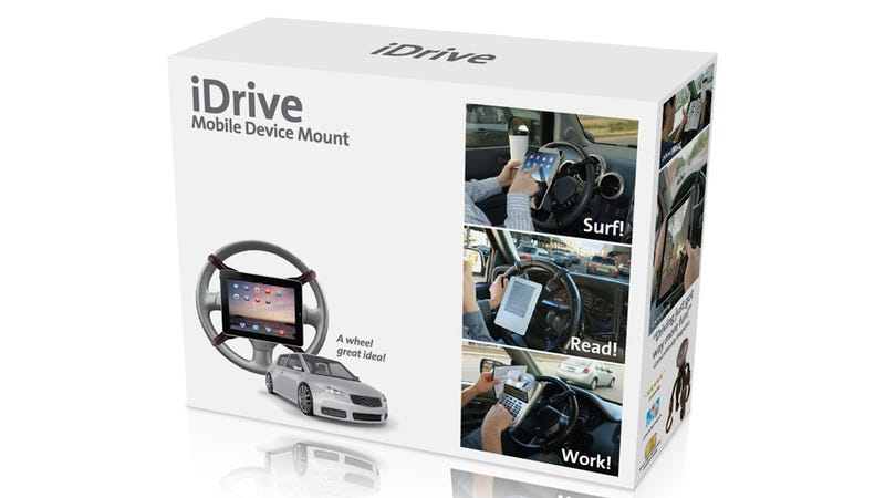 Illustration for article titled iDrive Steering Wheel Mount for iPad Is An AWESOME IDEA