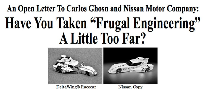 Illustration for article titled Panoz Publicly Calls Out Nissan For Stealing DeltaWing Design