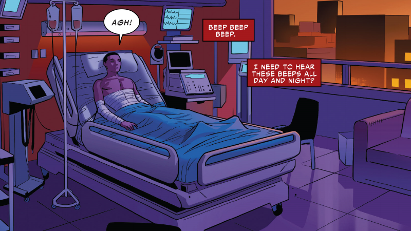 Miles in bed, a scenario that persists for much of Spider-Man #240.