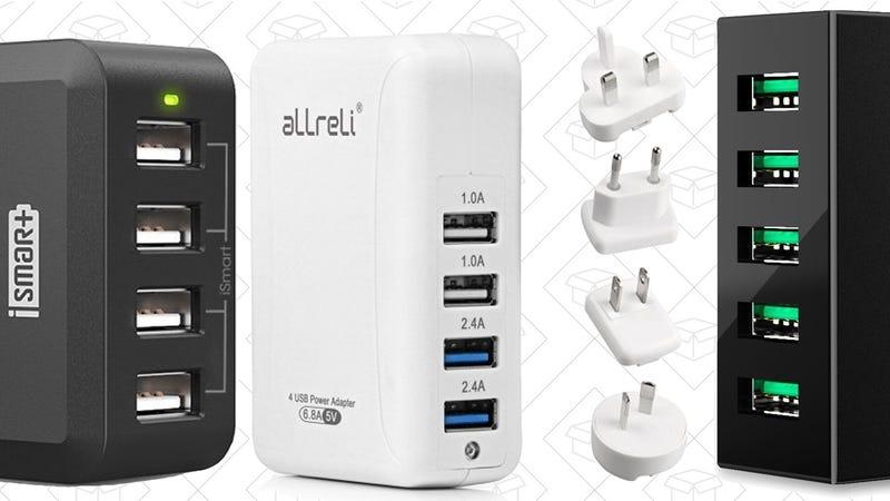 RAVPower 40W 4-Port Charger, $10 with code VWDTVK4W | aLLreLi 34W International USB Hub, $13 with code 9ISVMYC3 | Aukey 50W 5-Port Hub, $13 with code AU5POWER