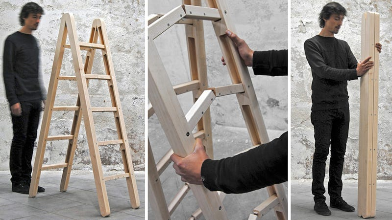 Illustration for article titled Ingenious Folding Ladder Practically Disappears For Easy Storage