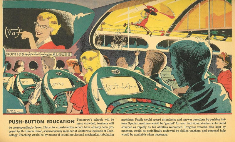 The May 5, 1958 edition of Arthur Radebaugh's Sunday comic, Closer Than We Think, which featured the school of tomorrow