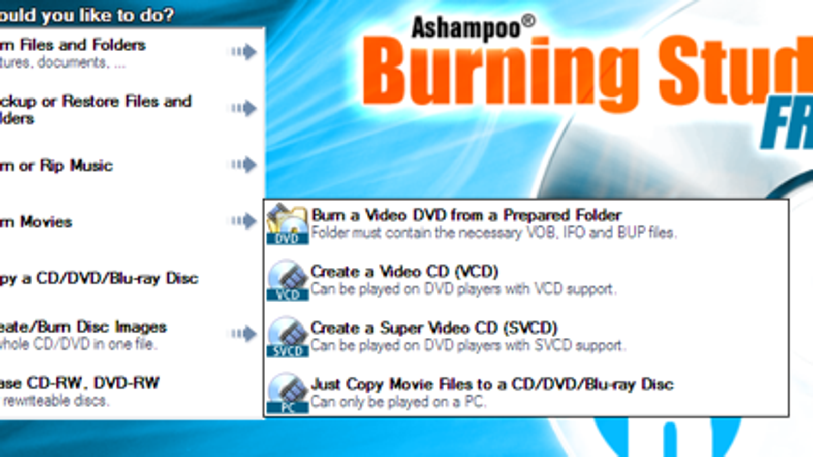 ashampoo burning studio freeware
