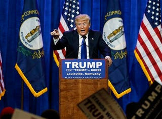 Donald Trump speaks during a rally March 1, 2016, in Louisville, Ky. (AP Photo/John Bazemore)