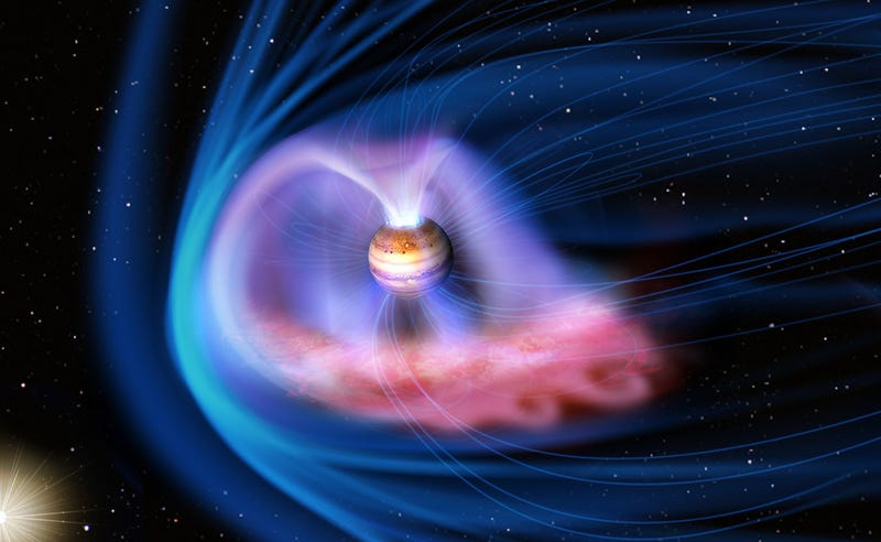 Artist's concept of Jupiter's magnetosphere interacting with the solar wind. Image Credit: JAXA