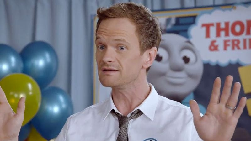 Illustration for article titled No one loves Thomas The Tank Engine more than Neil Patrick Harris