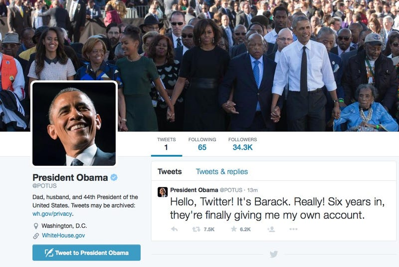 "Illustration for article titled ""It's Barack. Really!"" Obama Finally Joins Twitter at @POTUS"