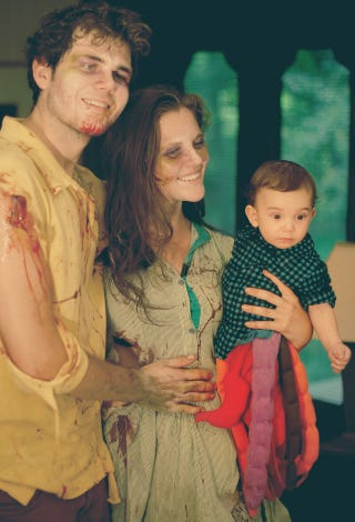 Illustration for article titled Zombie Torso Baby Costume Will Feast on Lame Pumpkin Baby Outfits