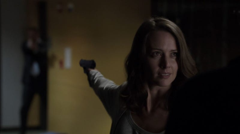 """Illustration for article titled """"How Did This Turn Into A Flirty Thing?"""" Amy Acker Talks Root And Shaw"""