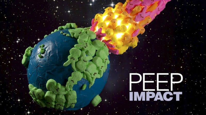 """Illustration for article titled A comet made of marshmallow bunnies and chicks destroys the Earth in """"Peep Impact"""""""