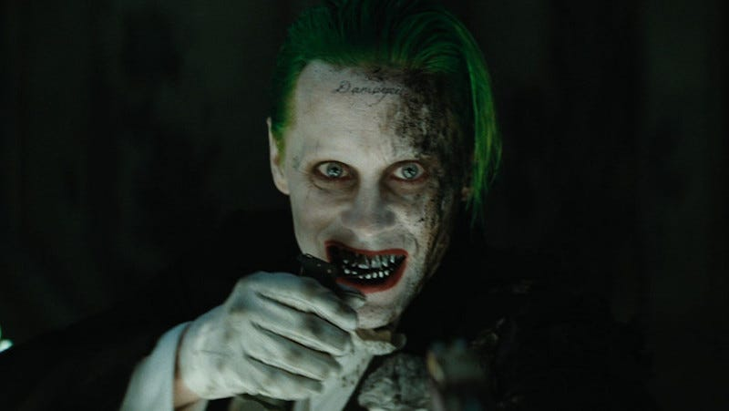 Joker (Jared Leto), grenade in hand, confronts the Sqwad in one of many deleted scenes from Suicide Squad.