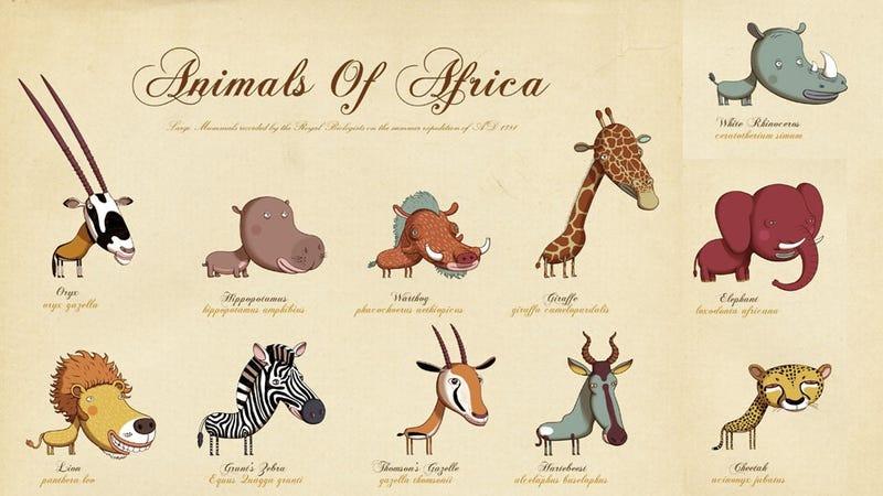 Illustration for article titled Afrika állatai halál cuki rajzokon