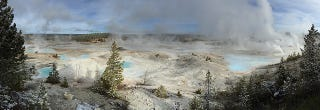 Illustration for article titled The Porcelain Basin Hot Springs Create an Ethereal Spring In Yellowstone