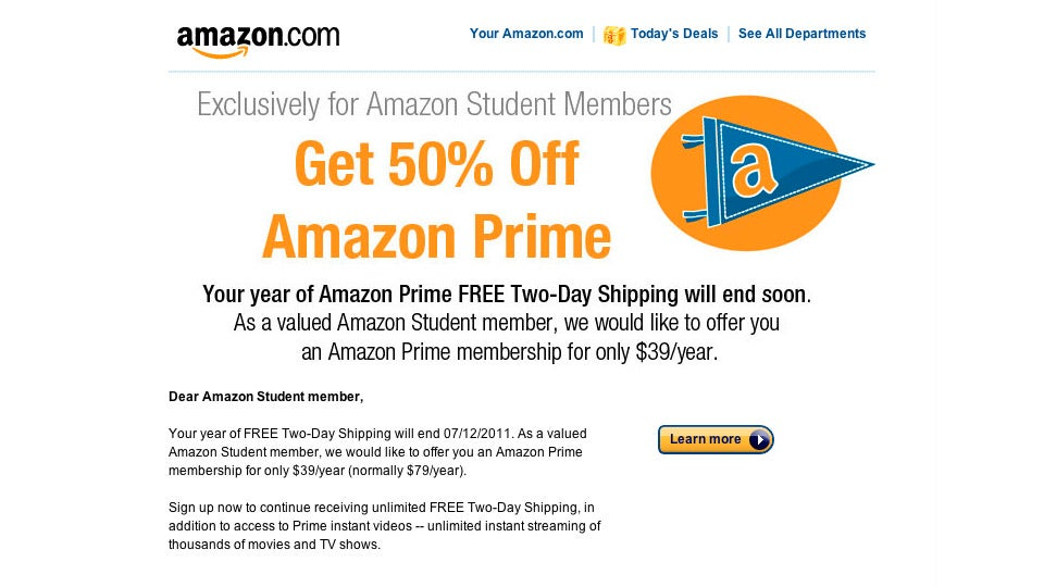 Do students get free amazon prime