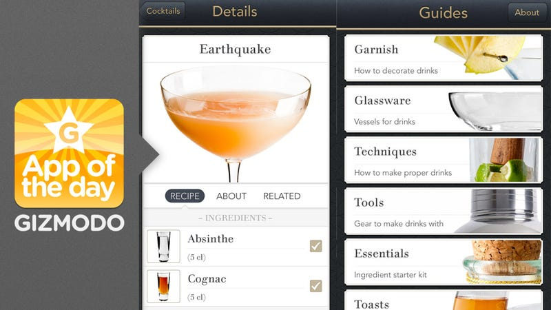 Minibar a classier cocktail app to get you drunk in style for Cocktail app and scales