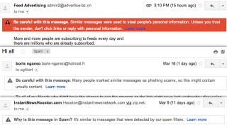 Illustration for article titled Gmail Now Tells You Why Email Ends Up in Your Spam Folder