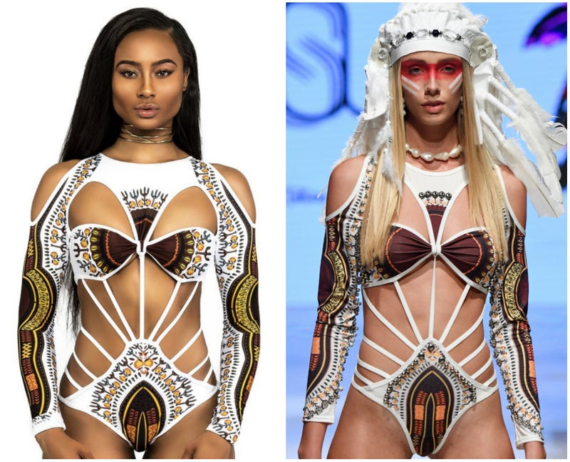 """Left, screenshot of the """"Ini"""" swimsuit from Bfyne; Right, A model walks the runway for Silvia Ulson at Miami Swim Week powered by Art Hearts Fashion Swim/Resort 2018/19 at Faena Forum on July 12, 2018 in Miami Beach, Florida."""