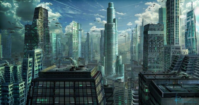 Illustration for article titled Ciudades futuristas imaginarias que algún día podríamos ver