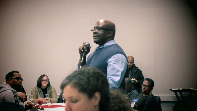 Frank Tuitt, professor at the University of Denver and organizer of the Making Black Lives Matter in Higher Education event, addresses the crowd of more than 250 people in Columbus, Ohio, on Nov. 9, 2016.Andre Perry