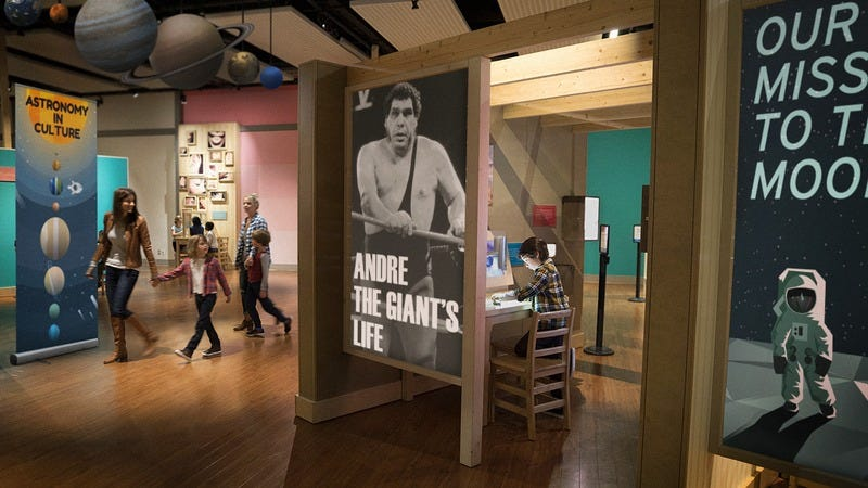 A planetarium exhibit about Andre The Giant.