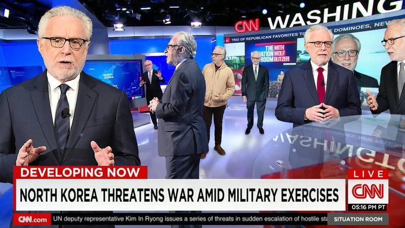 Multiple Wolf Blitzers on the set of the Situation Room.