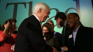 U.S. Sen. Thad Cochran (R-Miss.) greets supporters during his victory party June 24, 2014, at the Mississippi Children's Museum in Jackson after a narrow GOP primary victory over Tea Party-backed Republican candidate Chris McDaniel.Justin Sullivan/Getty Images