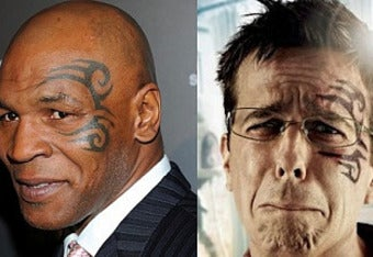 """b148bfafb8807 Mike Tyson's tattoo on Ed Helms in """"Hangover 2"""""""
