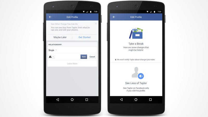 Illustration for article titled Facebook Rolls Out New Mobile Tools to Make Breakups a Little Easier